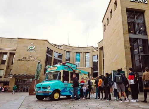Stranger things season launch using promotional ice cream van