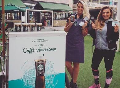 Starbucks promotional bike product sampling activity