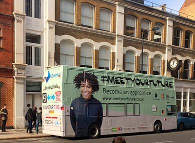 Digital Futures campaign with double decker bus hire