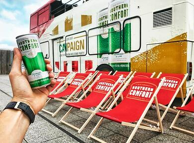 Southern Comfort branded double decker bus rental