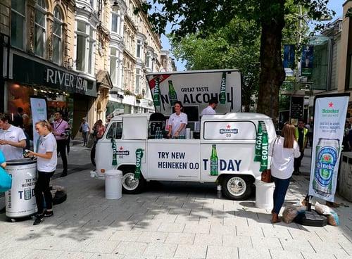 Heineken camper van set up in town high street - a top product sampling location