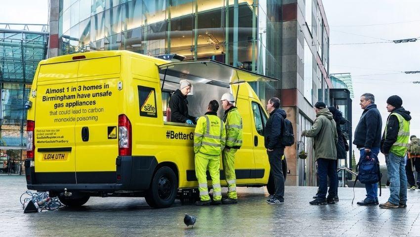Gas Safe food sampling van for promotional campaign