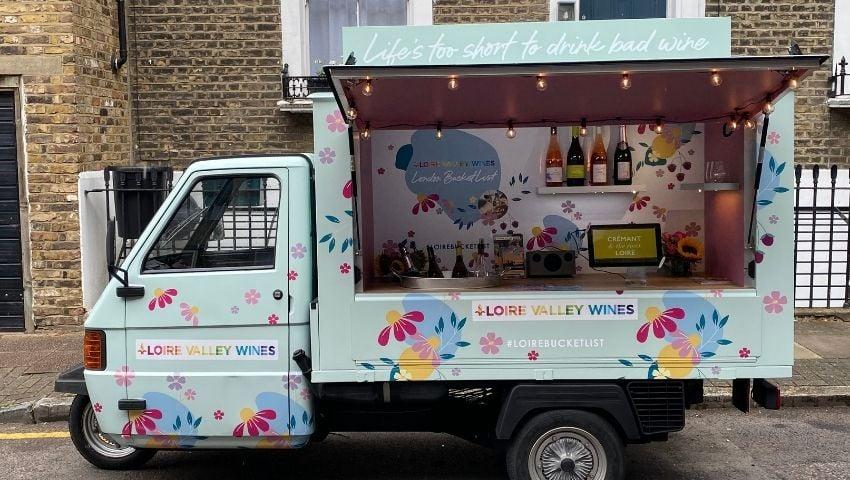Loire Valley wines pop-up drinks sampling Piaggio Ape