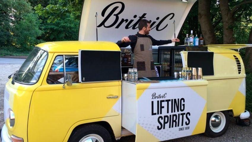 Britvic pop-up VW camper bar hire