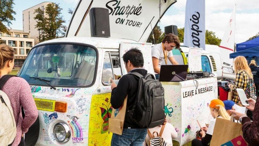 Sharpie pop-up VW camper tour