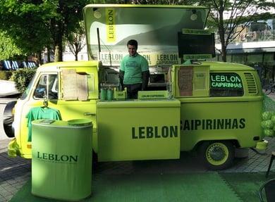 Leblon drinks sampling activation with pop-up camper bar hire