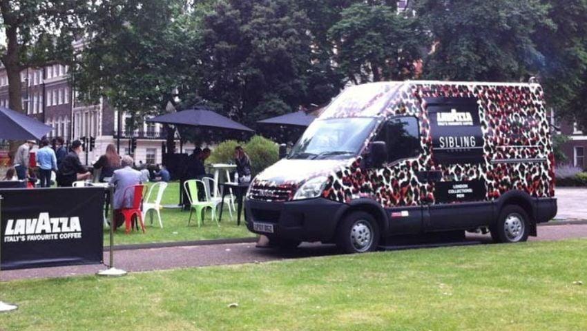 Lavazza support van hire for brand campaign