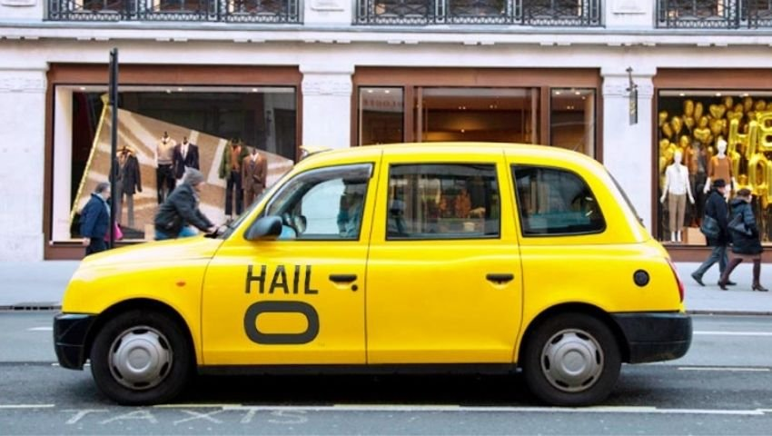 Hail-O taxi rental with branded wrap