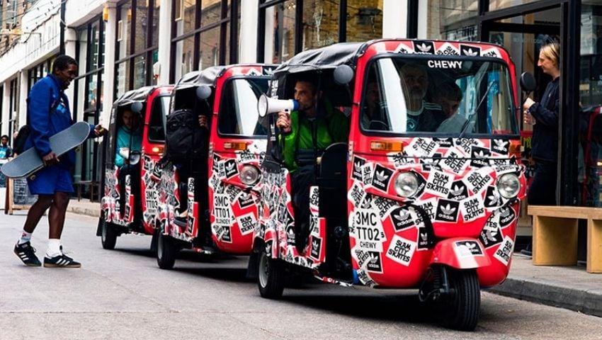 Adidas tuktuk hire for PR brand campaign