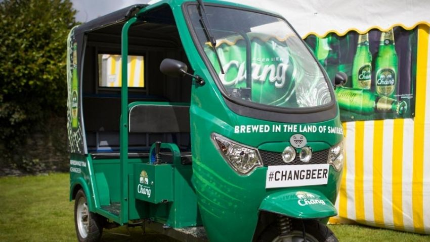 Chang Beer branded tuk tuk hire