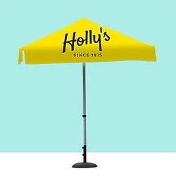 Yellow custom branded parasol form the Raccoon Store