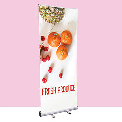 Custom printed roller banner advertising fresh produce